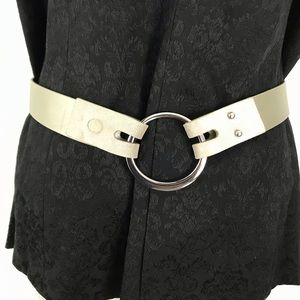 CHICO'S cream/silver/champagne ring belt S/M